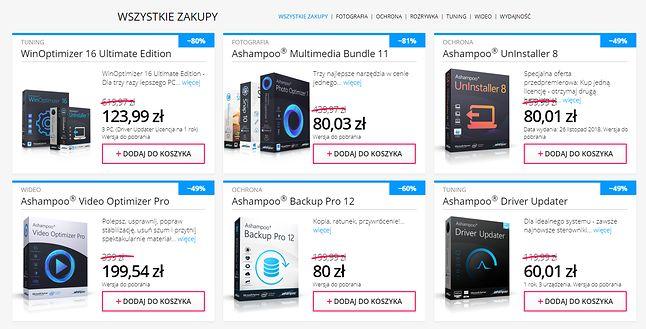 Duże promocje na oprogramowanie i pakiety programów Ashampoo.