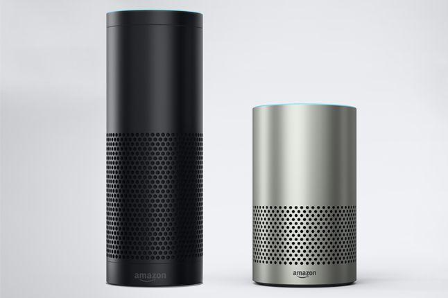 Amazon Echo 1. generacji (czarny) i 2. generacji (srebrny)