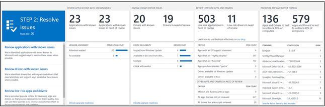 Etap analizy problemów z aplikacjami i sterownikami podczas aktualizacji