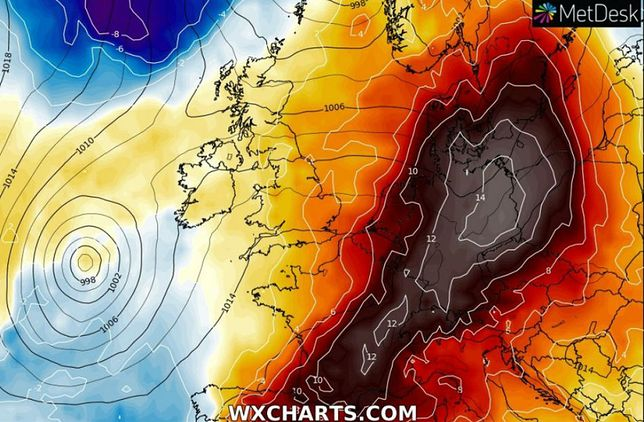 Fala ekstremalnych upałów dotrze do Polski za tydzień. Mapa pokazuje anomalię temperatur, +14 stopni powyżej średniej wieloletniej.