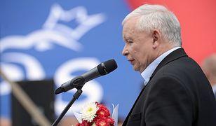Prezes PiS Jarosław Kaczyński podczas Pikniku Rodzinnego w Stalowej Woli