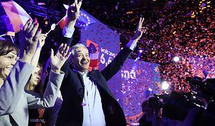 Wyniki wyborów do Europarlamentu 2019. Radość w sztabie Roberta Biedronia.