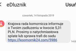 SMS-owe oszustwo. Ktoś podszywa się pod Krajową Radę Komorniczą