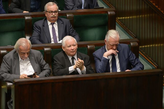 Jarosław Gowin i Jarosław Kaczyński w Sejmie