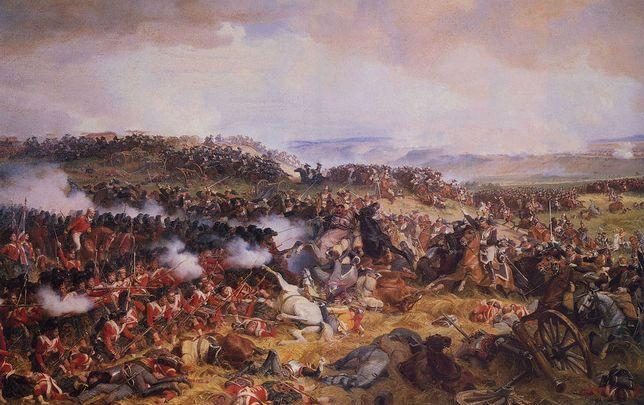 Obraz przedstawiający szarżę francuskich kirasjerów na angielską piechotę