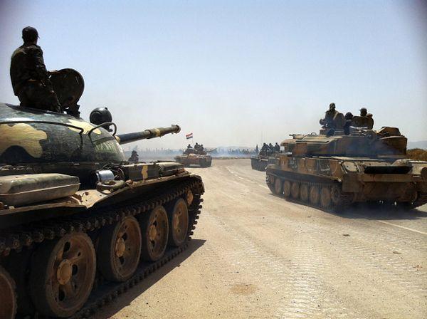 Syryjskie siły w pobliżu Al-Kusajr