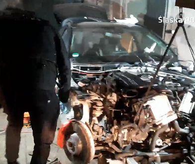 Złodzieje samochodów zatrzymani. Wideo z dziupli z luksusowymi autami