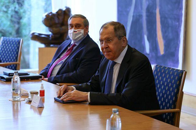 Minister spraw zagranicznych Rosji Siergiej Ławrow podczas wizyty w Chorwacji (w tle prezydent Zoran Milanovic)