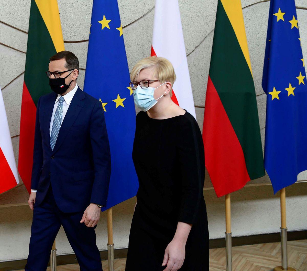 Premier Mateusz Morawiecki i premier Republiki Litewskiej Ingrida Simonyte, Wilno, Litwa, 02.05.2021 r.