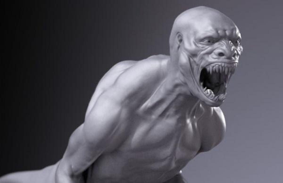 Model koncepcyjny hybrydy człowieka i dinozaura