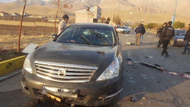 Samochód, którym podróżował Fakhrizadeh