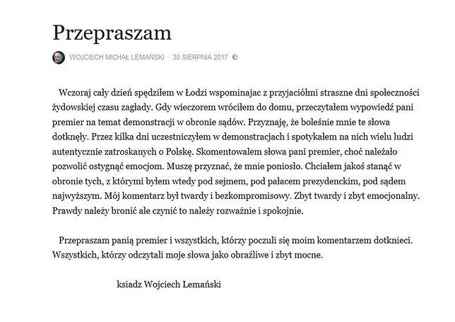 Wpis z przeprosinami księdza Lemańskiego.