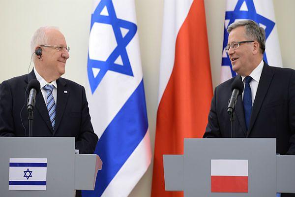 Pprezydent Izraela Reuwen Riwlin i Bronisław Komorowski