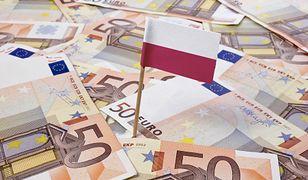 Flag of Poland sticking in european banknotes.(series)