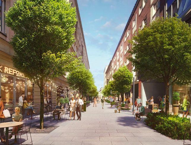 Nowa Chmielna. Projekt, który zwyciężył w konkursie na metamorfozę tej ulicy, zakłada posadzenie wielu dużych drzew i stworzenie stref wypoczynku