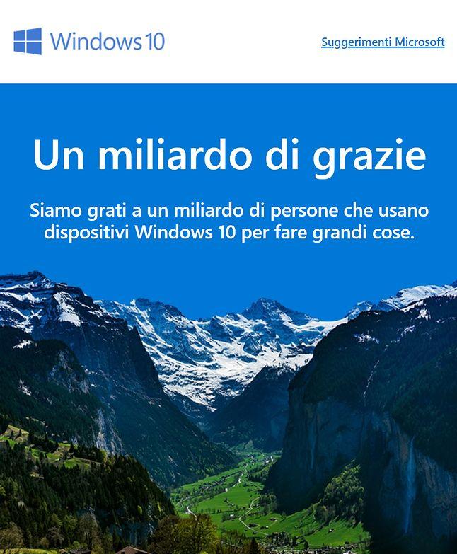 Informacja o miliardzie instalacji z włoskiej strony o Windows 10.