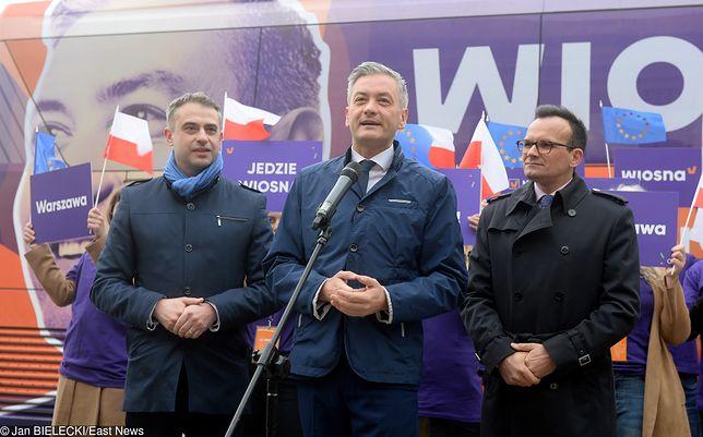 Marcin Anaszewicz i Robert Biedroń podczas kampanii Wiosny przed wyborami do PE