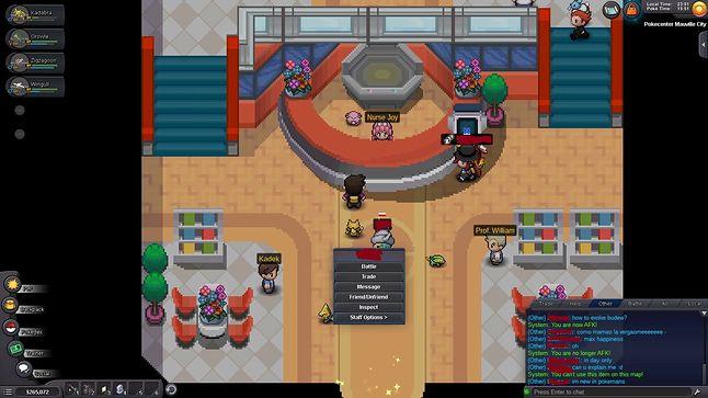 Pokecenter oraz  możliwe opcję interakcji z innymi graczami