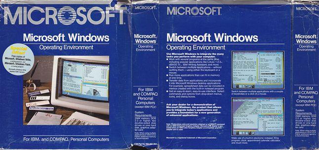 Tak wyglądały pudełka ze środowiskiem operacyjnym Windows 1.0 (źródło: winhistory.de)