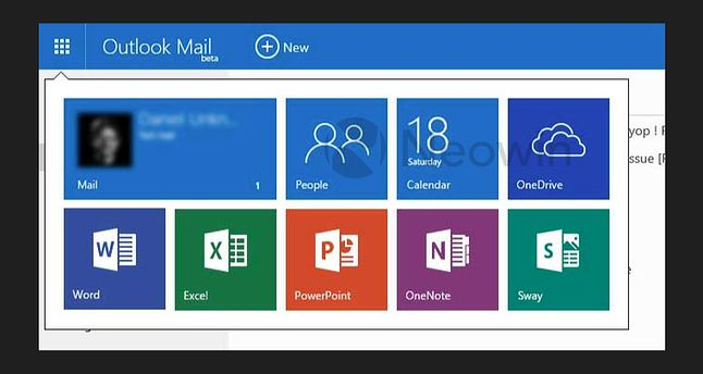 Nowy wygląd menu webowego Outlooka. Źródło: Neowin