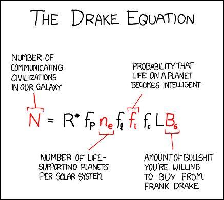 Ile ich jest? Równanie Drake'a, w wersji poprawionej przez autora komiksu xkcd, Randalla Munroe