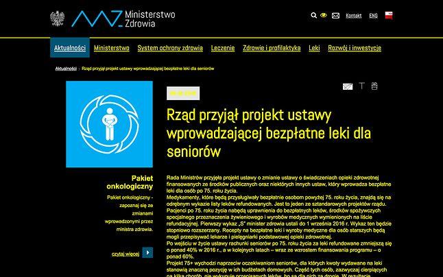 Strona Ministerstwa Zdrowia w trybie dla osób niedowidzących
