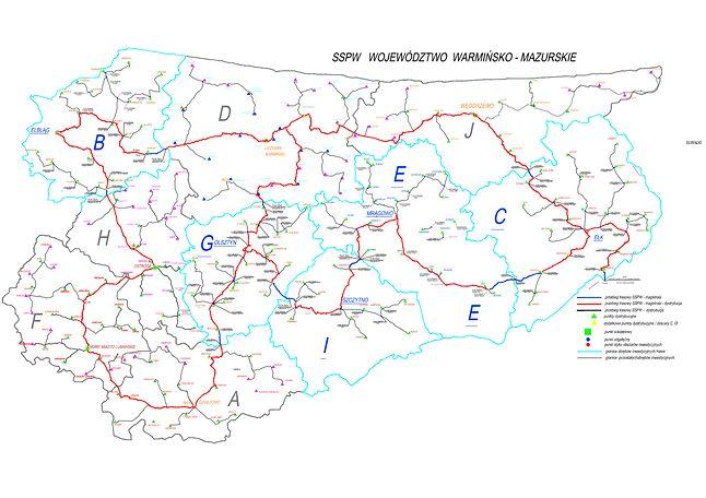 Mapa sieci szkieletowej z podziałem na obszary inwestycyjne