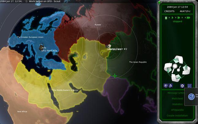 Widok planety: bazy, stanowiska SAM, radary...