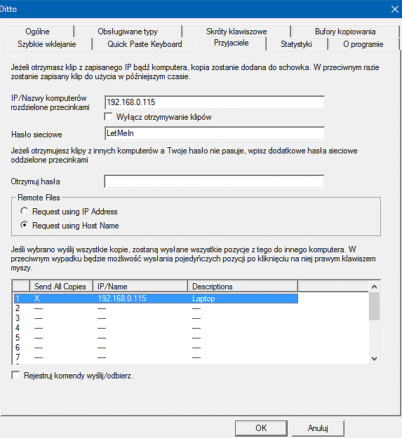 W Ditto konfiguracja udostępniania sieciowego opiera się na uzupełnieniu lokalnych adresów IP lub nazw komputerów, pomiędzy którymi chcemy współdzielić schowek