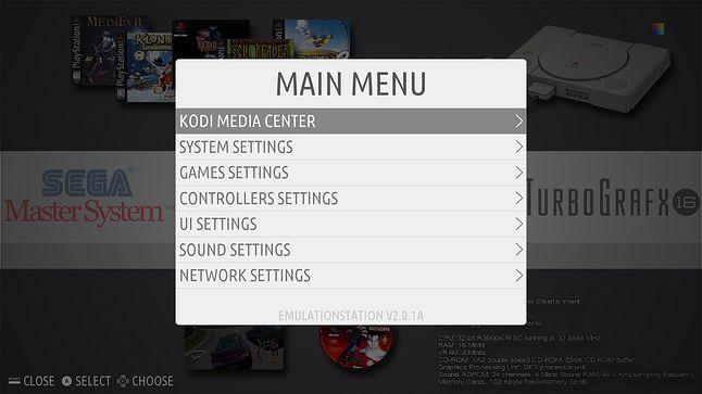Recalbox przynosi rozbudowane menu EmulationStation i odtwarzacz Kodi