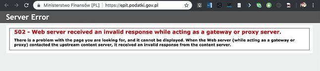 Komunikat o błędzie 502 na stronie Ministerstwa Finansów