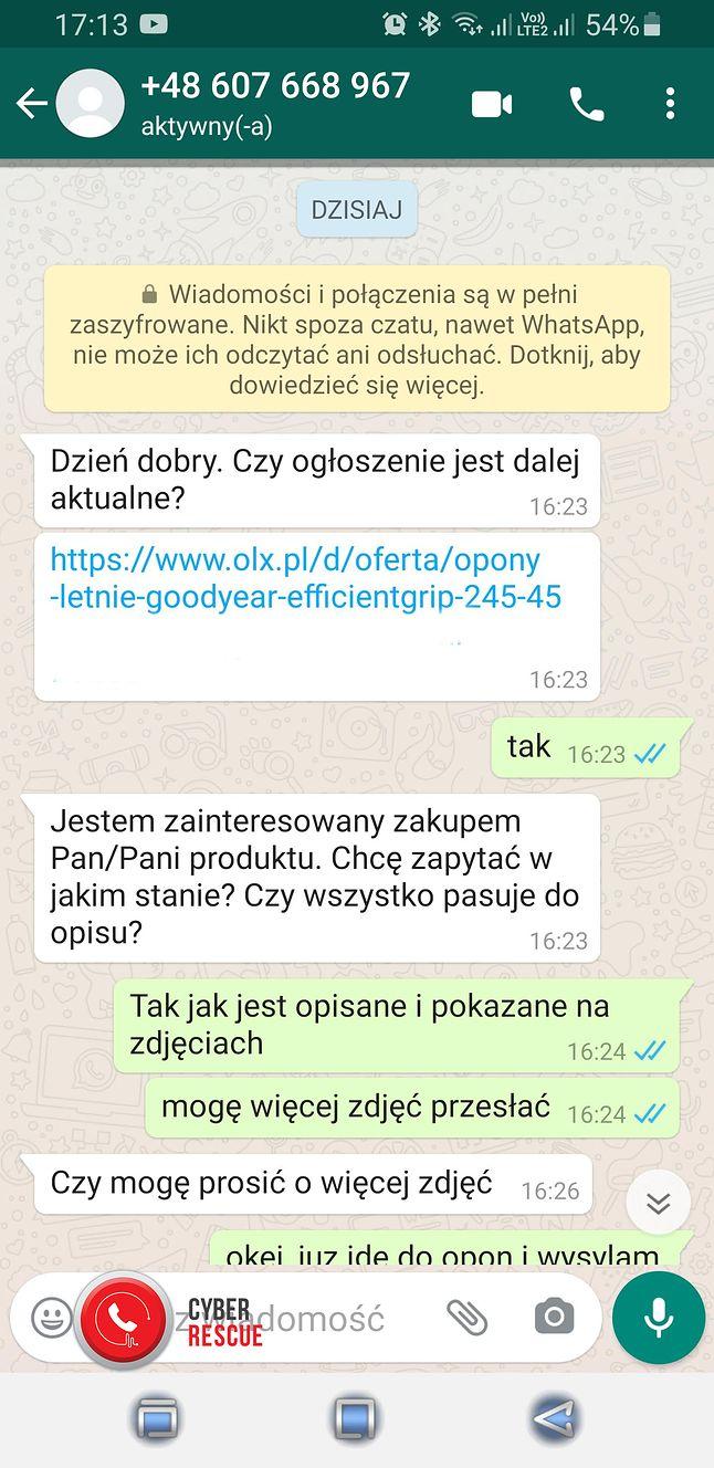 """Przykład oszustwa """"na OLX"""" z wykorzystaniem WhatsAppa"""