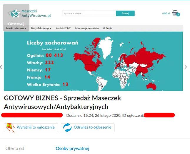 """""""Gotowy biznes"""" wśród ogłoszeń na OLX. Wystarczy 10 tys. złotych, by zacząć zarabiać na popularności hasła """"koronawirus""""."""