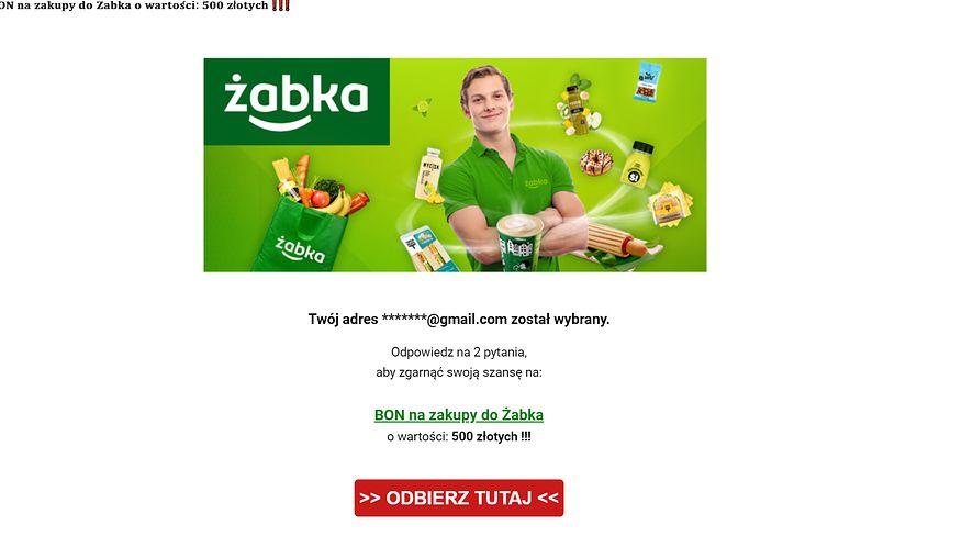 Fałszywy e-mail z wizerunkiem marki Żabka