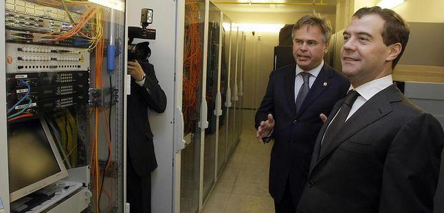 Jewgienij Kasperski z ówczesnym prezydentem Federacji Rosyjskiej - Dmitrijem Miedwiediewem.