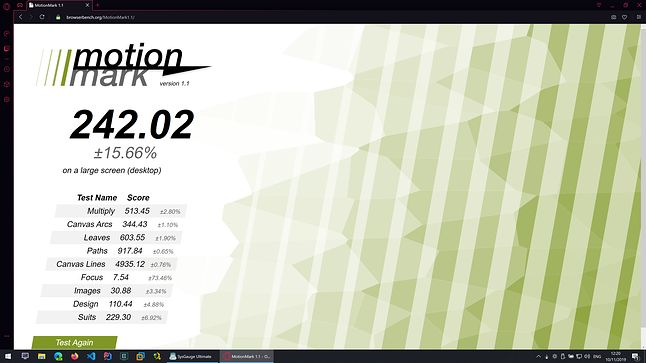 Opera GX - MotionMark - Wynik: 242.02
