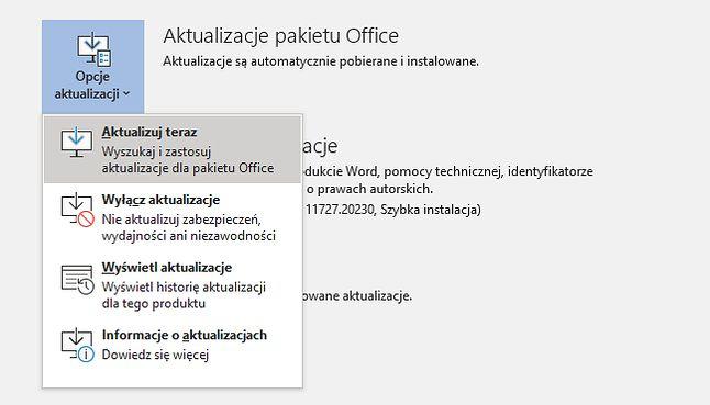Opcje aktualizacji pakietu Office.