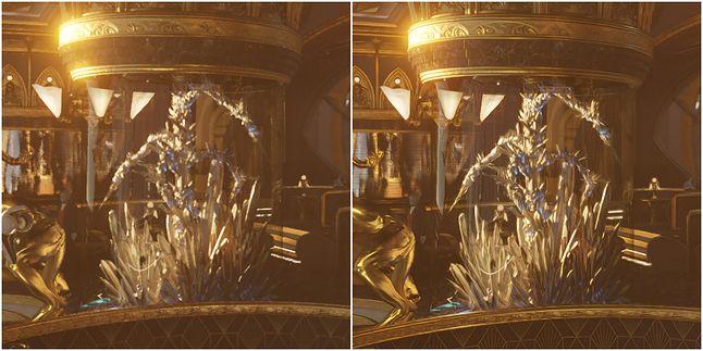 Płynny i dynamiczny ruch kamery; po lewej – TAA, po prawej – DLSS