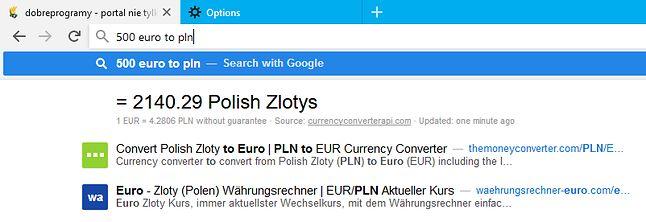 Na pasku można na przykład szybko przeliczać waluty.