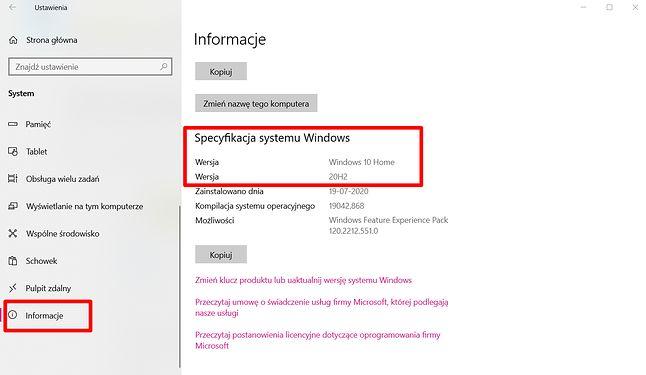 Wersję Windows 10 można sprawdzić w Ustawieniach, fot. Oskar Ziomek.