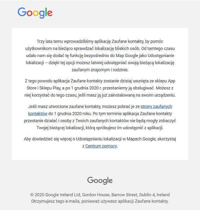 Google informuje, że Zaufane kontakty znikną ze sklepów z aplikacjami. Źródło: Google, fot. Oskar Ziomek.