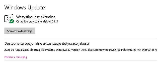 KB5001567 to opcjonalna aktualizacja, fot. Oskar Ziomek.