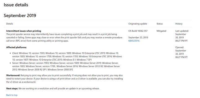 Opis problemu z drukowaniem w dokumentacji Windows 10 1903, źródło: Microsoft.