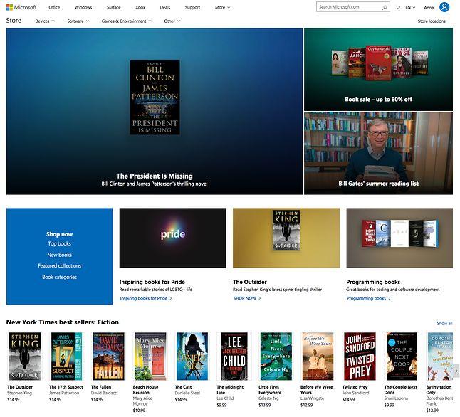widok księgarni Microsoftu w przeglądarce
