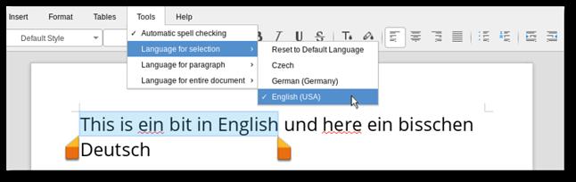 Sprawdzanie pisowni w LibreOffice Online