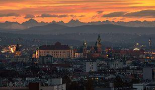 Tatry widziane z Krakowa 22 listopada