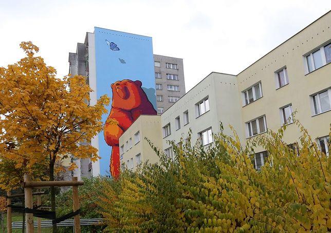 Ursynów ma nowy mural - niedźwiedzia wpatrującego się w motyla