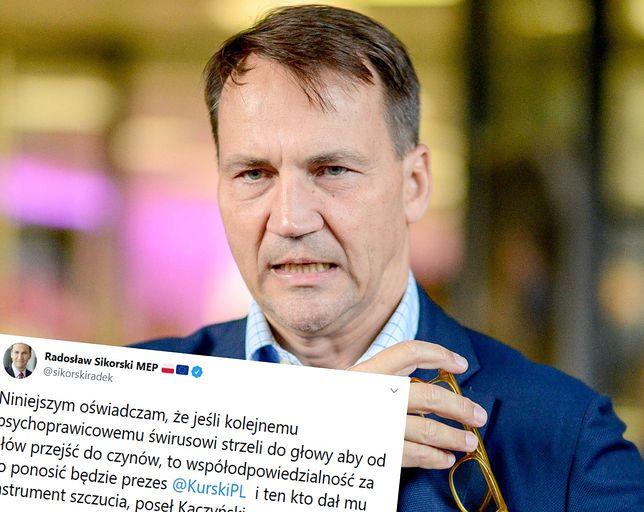 TVP pokazuje zdjęcia europosłów opozycji. Radosław Sikorski reaguje