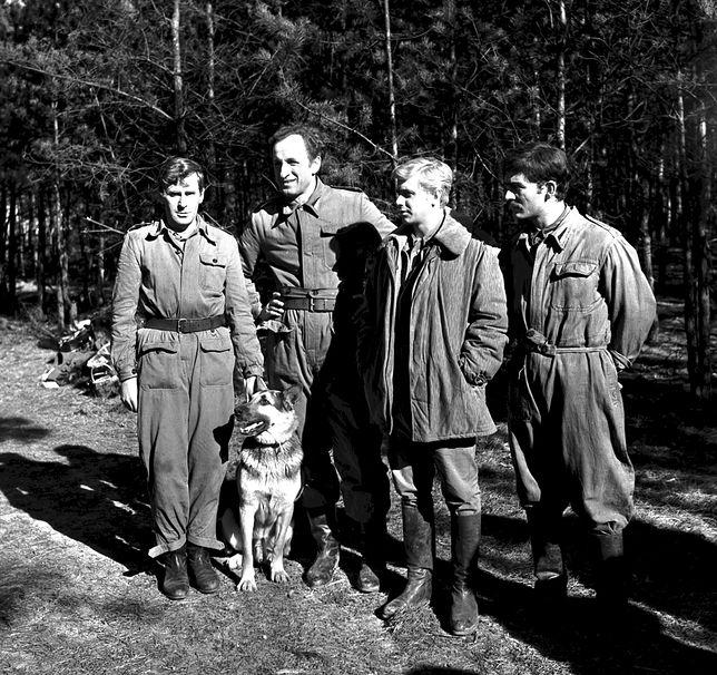 """Wiesław Gołas, Franciszek Pieczka, Janusz Gajos, Włodzimierz Press w 1966 roku na planie """"Czterej pancerni i pies"""""""
