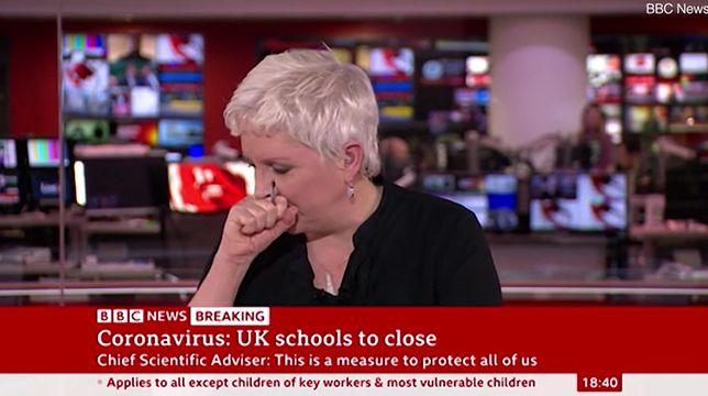 Dziennikarka BBC kaszlnęła na wizji. Prowadziła program o koronawirusie